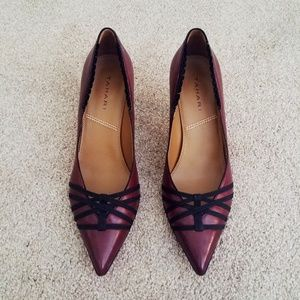 Tahari Leather Pointed Toe Maroon Kitten Heels